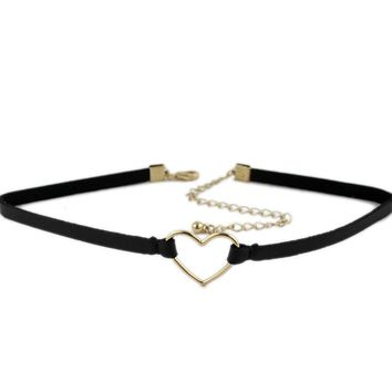 Korean version of the simple black leather rope necklace new card neck Choker neckband love flannel clavicle chain neck chain KP