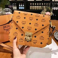 MCM New Fashion More Letter Print High Quality Crossbody Shoulder Bag Brown