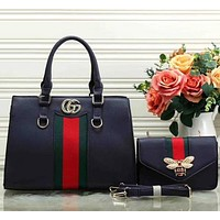 Perfect Gucci Women Fashion Leather Satchel Shoulder Bag Handbag Crossbody Set Two Piece