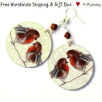Sale Valentine Winter Birds Earrings Robin lovebirds by MADEbyMADA