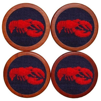 Lobster Needlepoint Coasters in Navy by Smathers & Branson