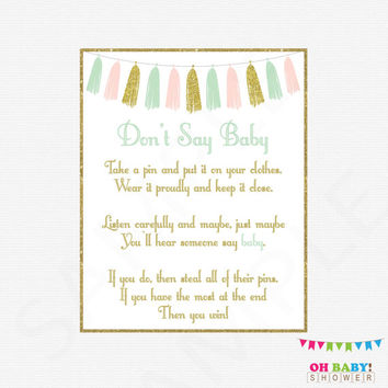 Don't Say Baby, Pink Mint Gold Baby Shower Games, Printable baby shower, clothes pin game, pink mint gold tassels, girl baby shower TASPMG