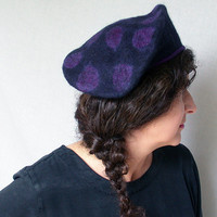 Black Beret - Purple Dots - Felted Hat - Retro 1940s  - Military Style