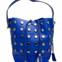 Faux Leather Studded Hobo Bag