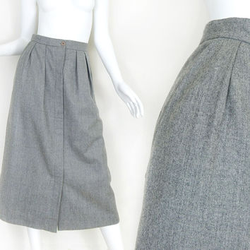 Sz 6 - 8 80s Gray Wool Pleated Midi Skirt - Vintage Button Up Front Long Women's Skirt