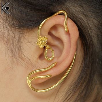 Cheap Beauty and the Beast Earrings Ear Cuff Belle Cosplay Jewelry Gold Color Rose Earrings Fairy Tale Movie Victorian Jewelry