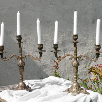 French vintage brass / bronze candelabras, French vintage candelabras, chateau chic, candle holders, country home, French candelabras