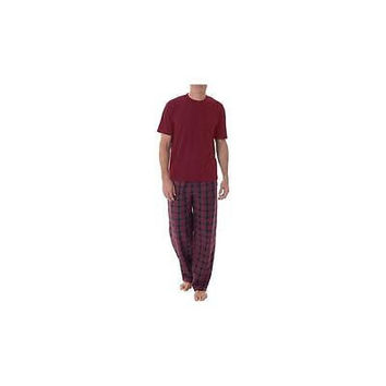 Fruit Of The Loom Men's Fleece Sleep Pant + Knit Top Sleep Set, Small, Red/Char