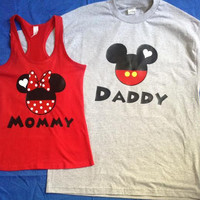 Free Shipping for US Mommy Daddy Mickey and Minnie Couples Tank Tops/T Shirts