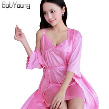 BabYoung Summer Women Nightgowns Two Pieces Silk Lace Short Sleeve Sexy Sleepshirts Mini V-neck Lingerie Pink Gown Sets