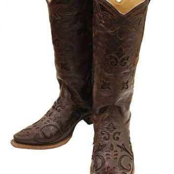 DCCKAB3 Corral Brown Vintage Lizard Inlay Snip Toe Cowgirl Boots C2692