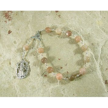 Hekate (Hecate) Pocket Prayer Beads in Moonstone: Greek Goddess of Magic and Witchcraft