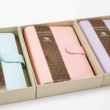 Macaron Color Leather Spiral Notebook Office Personal Diary/week Organizer A5 A6 Notebook Cover