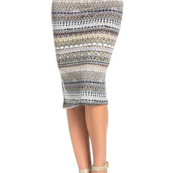 Boho Tribal Print Midi Skirt
