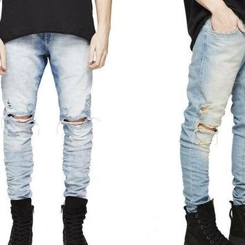 LMF9GW REPRESENT pants korean mens designer clothes fashion denim jumpsuit black/light blue skinny destroyed ripped distressed jeans