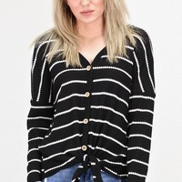 Must Have Striped Thermal Button +Tie Front L/S {Black}