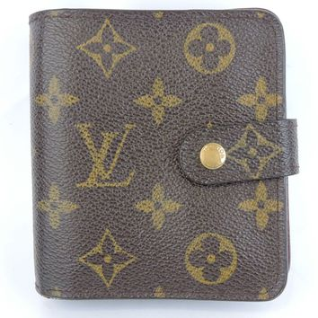 AUTHENTIC LOUIS VUITTON MONOGRAM COMPACT ZIPPE CARD COIN BILL BIFOLD WALLET