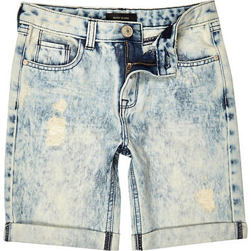 River Island Boys blue bleach ripped denim shorts