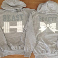 Free//Fast Shipping for US Beauty with Bow and  Beast with Dumbbell Couples Hoodies: Gray(Gray and White Decal)