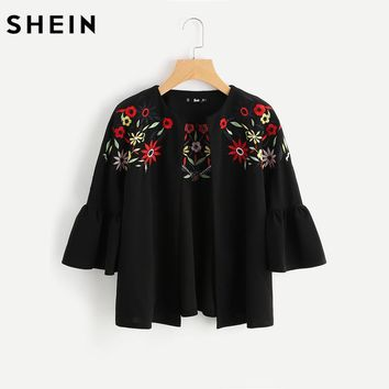 SHEIN Embroidery Ruffle Bell Sleeve Blazer Black Collarless Fitted Woman Autumn Blazer Casual Women's Coat and Blazers