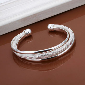 Free Shipping Sterling Solid Silver Net Bracelet&Bangle