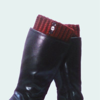Burgundy Boot Cuff Crochet Maroon Oxblood Wine Winter Accessory
