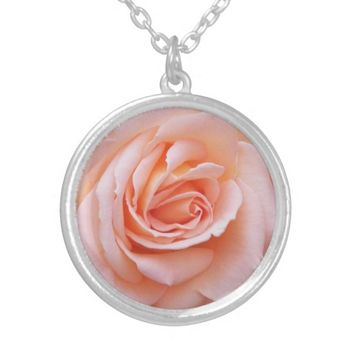 Blush Pink Rose Floral Silver Plated Necklace