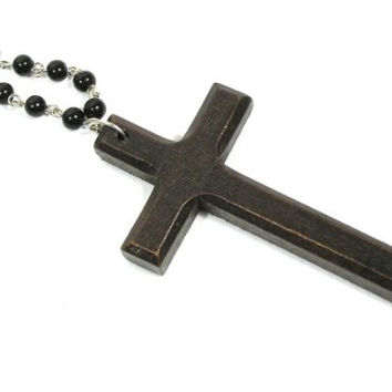 Wood Cross Necklace Vintage Rosary Bead Chain Christian NC04 Antique Prayer Pendant Fashion Jewelry