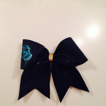 Navy/Turquoise Glitter Skull Cheer Bow by MyWildBows on Etsy