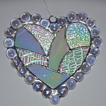 Large glass and nugget heart suncatcher