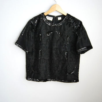 Raw Silk - Vintage 80s Black Beaded Silk Triphy Party Top Shirt
