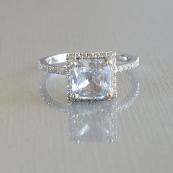About 2 carat white Sapphire Diamond ring 14k gold ring, Fine jewelry Engagement ring P817