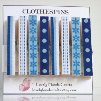 Decorative Wooden Christmas Clothespins, White and  Blue,  Set of 8