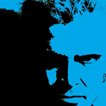 Billy Idol Black / Blue Acrylic Popart Painting Free Shipping