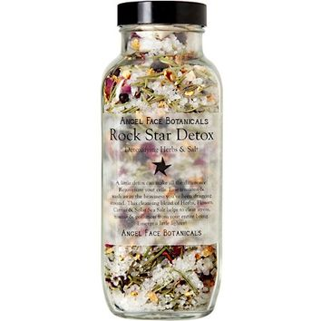 Rock Star Detox Rustic Bath - Detoxifying Herbs & Sea Mineral Salts 15 oz - Natural and Organic Home Spa Products by Angel Face Botanicals