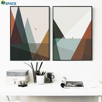 Cartoon Mountain Sea Swimmer Nordic Posters And Prints Wall Art Canvas Painting Geometric Wall Pictures For Living Room Decor