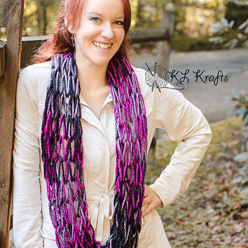 Knit Infinity Scarf, Infinity Scarf, Lightweight Black Raspberry Chunky Arm Knit Infinity Scarf, Pink and Black Arm Knitted Eternity Scarf
