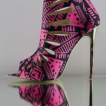 "Summer Dance Black / Pink Cut Out Tribal Print 4.5"" Heel Bootie Shoe"