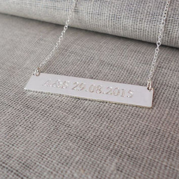 Initial Bar Necklace,Date Bar Necklace,Personalized Bar Necklace,Monogram Bar Necklace,Roman Numeral Necklace,Custom Bar Jewelry