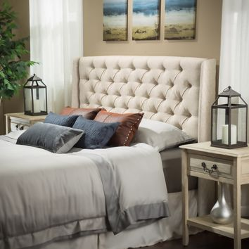 Allen Wingback Queen/Full Tufted Eggshell Fabric Headboard