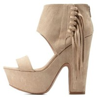 Fringe Chunky Platform Heels by Qupid at Charlotte Russe