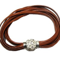 Brown multi strands leather bracelet with pave crystal closure