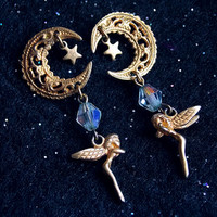 Antique Celestial Art Nouveau Crescent Moon Fairy Earrings