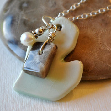 Petoskey stone necklace with pale green ceramic Michigan pendant, Petoskey stone and freshwater pearl, Michigan necklace, Up North