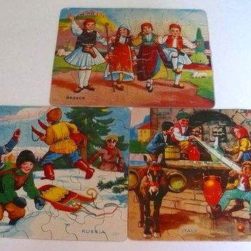 Vintage Jigsaw Puzzle 1940's All Nations Set of Three Children Greece Italy Russia