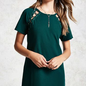 Lace-Up T-Shirt Dress