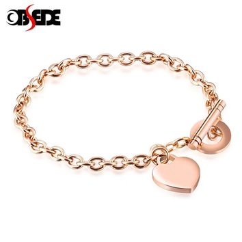 OBSEDE Fashion Women Jewelry Heart Pendant Stainless Steel Bracelet Rose Gold Color Charm Women Bracelet Vintage for Gift