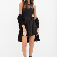 FOREVER 21 Pleated Mesh-Paneled Dress Black