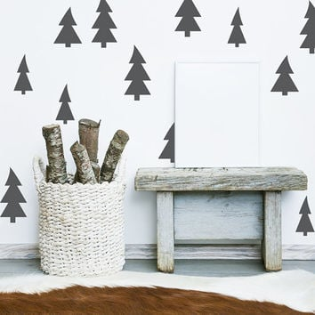 Christmas Tree, Tree Wall Decal, Rustic Wall Decor, Woodland Wall Decor, Pine Tree Wall Decal, Cottage Chic Decor, Cabin Lodge Wall Decor