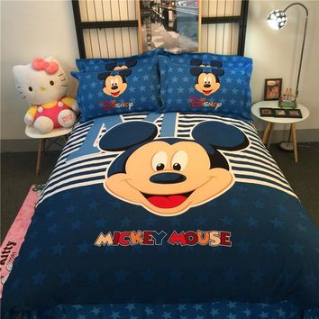 Disney mickey&minnie brushed cotton bedding set duvet cover bed sheet pillow cases king queen single size for kids